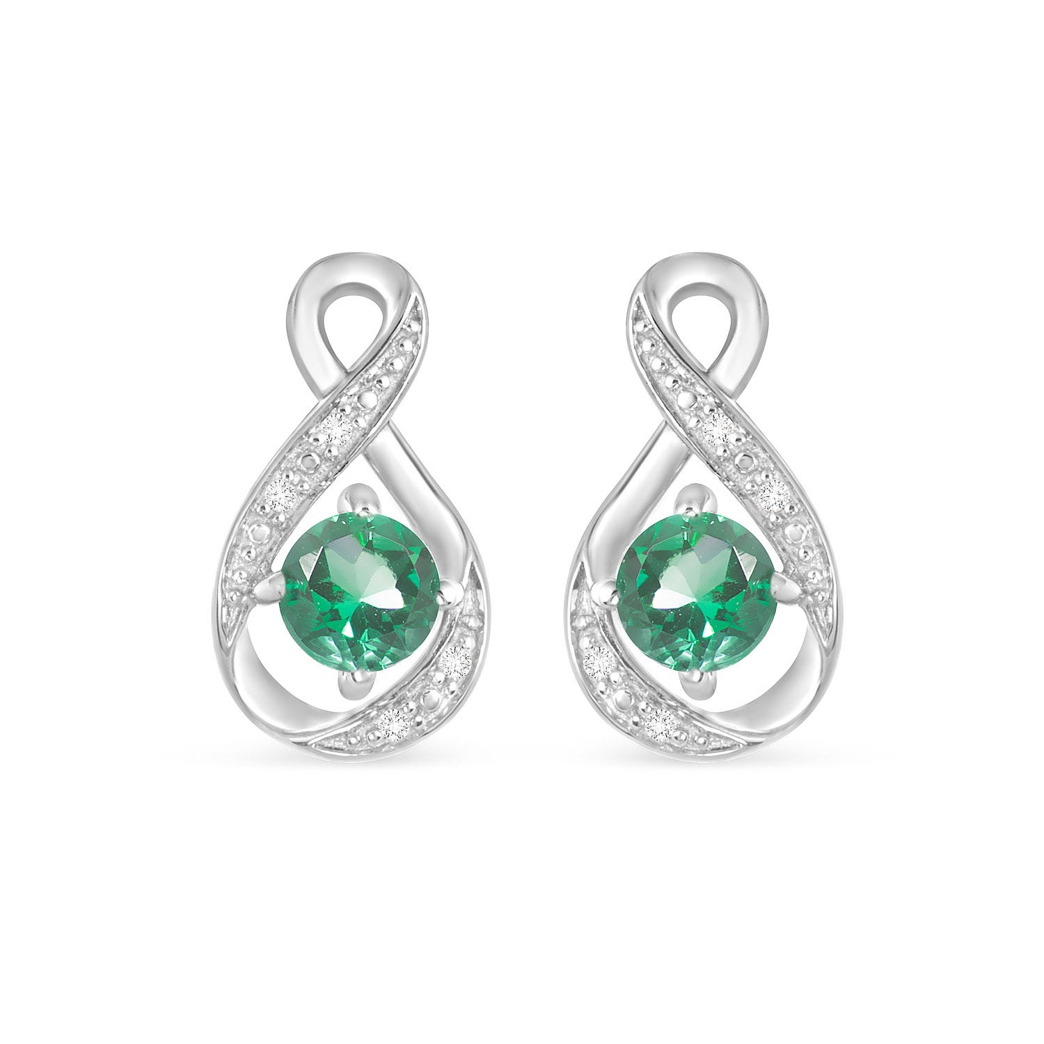 Sterling Silver and Cubic Zirconia May Birthstone Stud Earrings