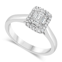 Ladies 18ct White Gold Emerald Cut Illusion 0.25 Carat Diamond Ring - Special Price