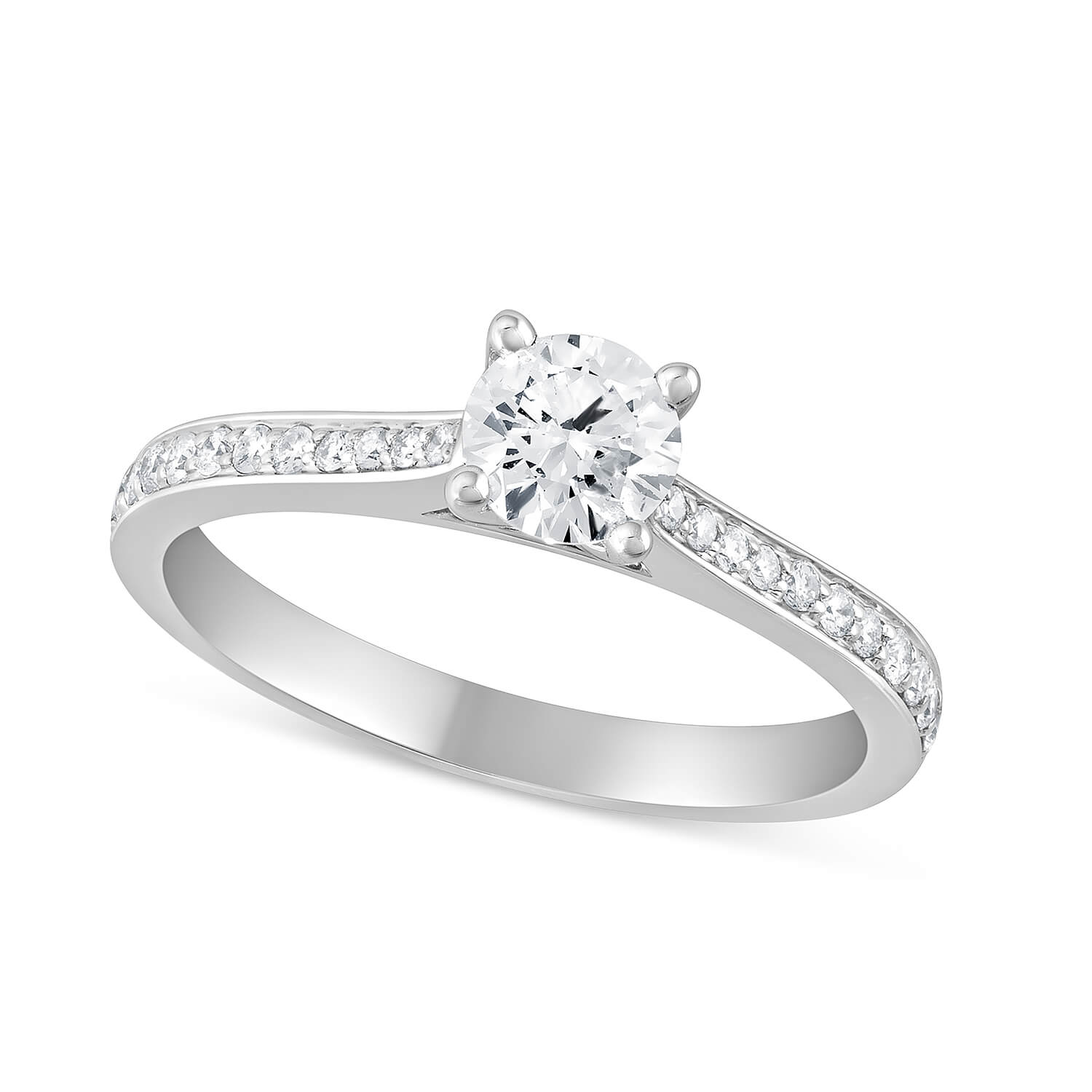 18ct White Gold Diamond Solitaire Engagement Ring