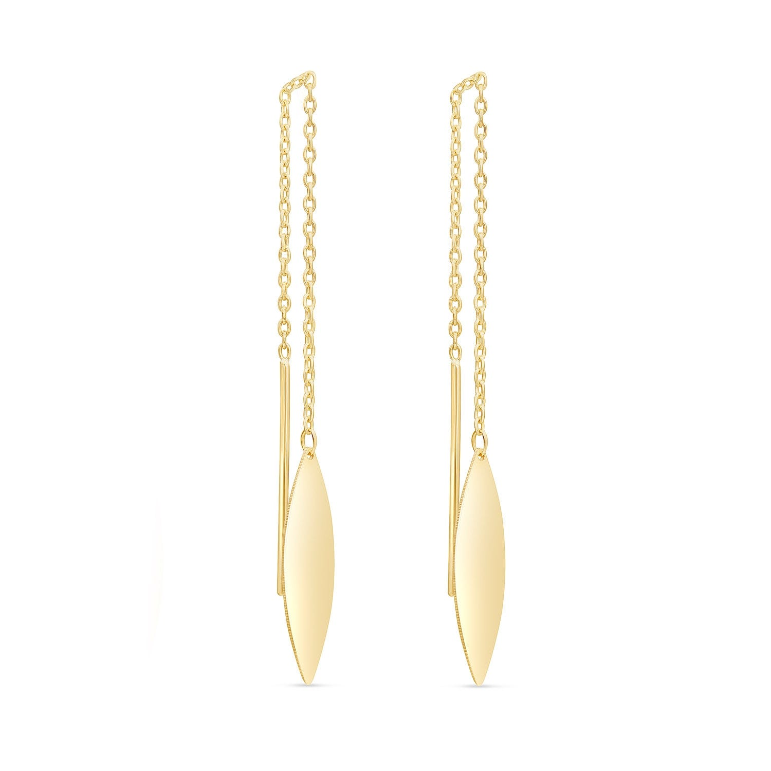 9ct Yellow Gold Pull Through Chain Polished Oval Drop Earrings