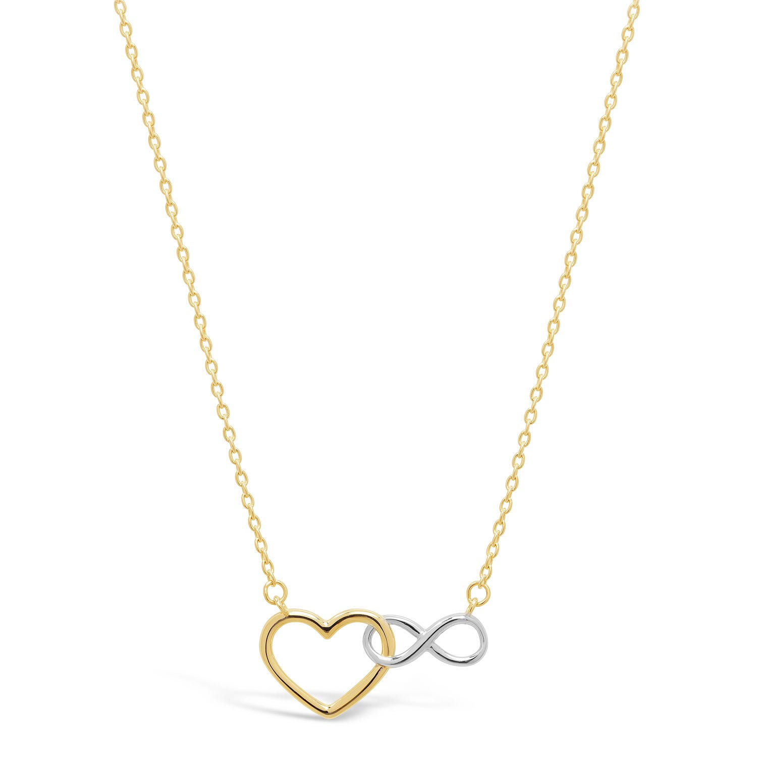 9ct Yellow Gold Two Colour Infinity Heart Interlocking Necklet