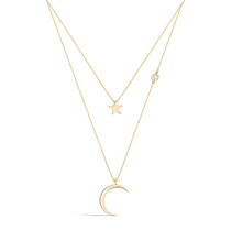 9ct Gold Celestial Moon And Star Cubic Zirconia Set Double Chain Necklet