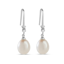 9ct White Gold 0.03ct Diamond Set Cultured Pearl Drop Hook Earrings