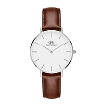 Daniel Wellington Classic Petite St. Mawes White and Silver-Tone Watch with Brown Strap 32mm