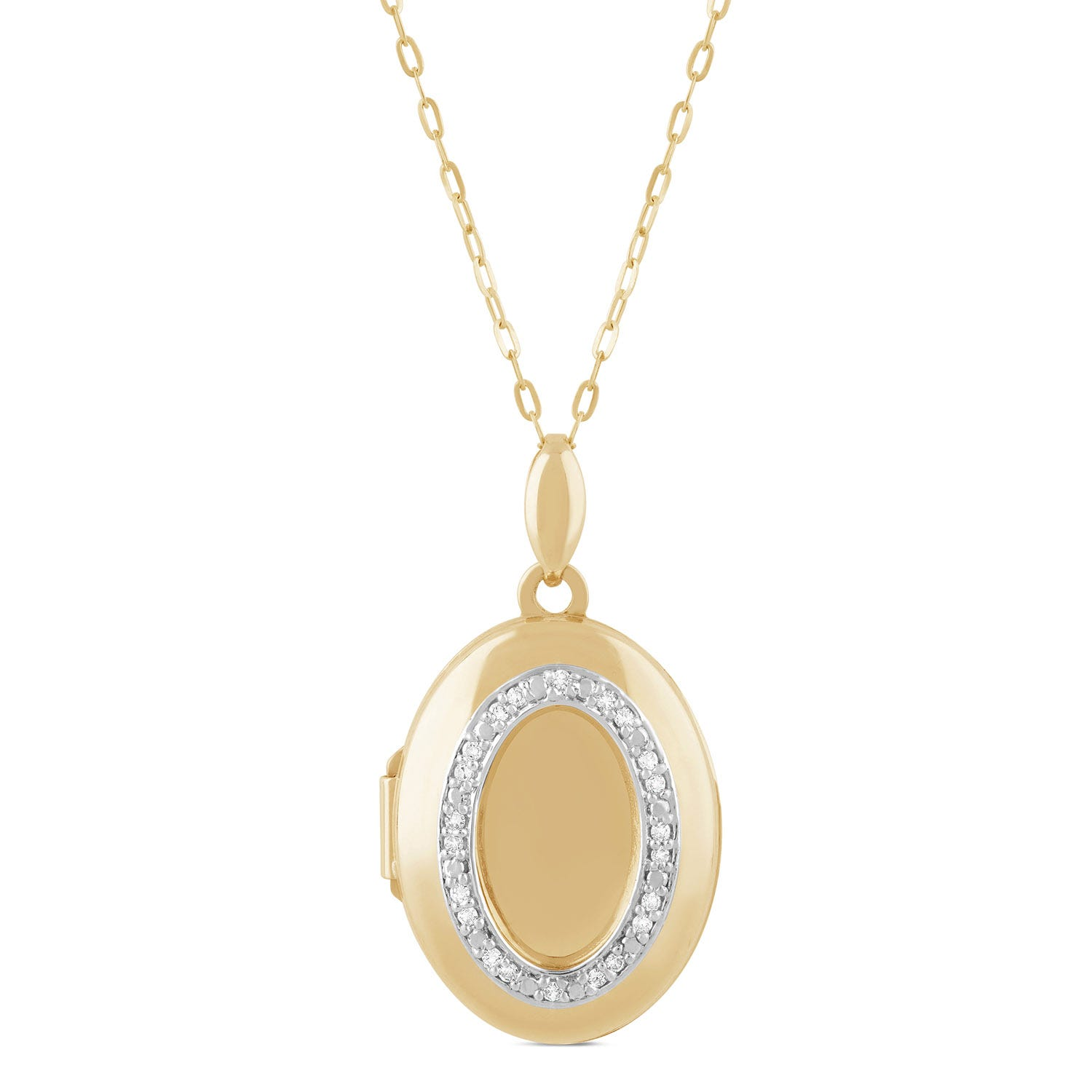 9ct Yellow Gold Diamond Design Oval Locket