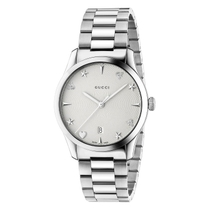 Gucci G-Timeless Silver Guilloche Dial Steel Bracelet Ladies' Watch