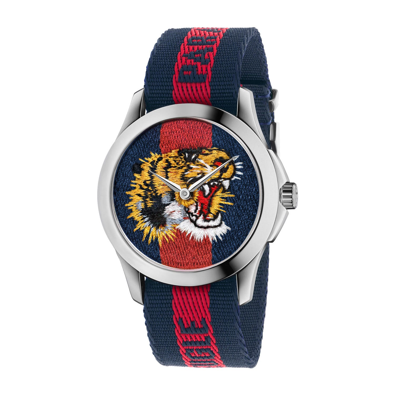 Gucci Le Marche Des Merveilles Tiger Striped Nylon Men's Watch