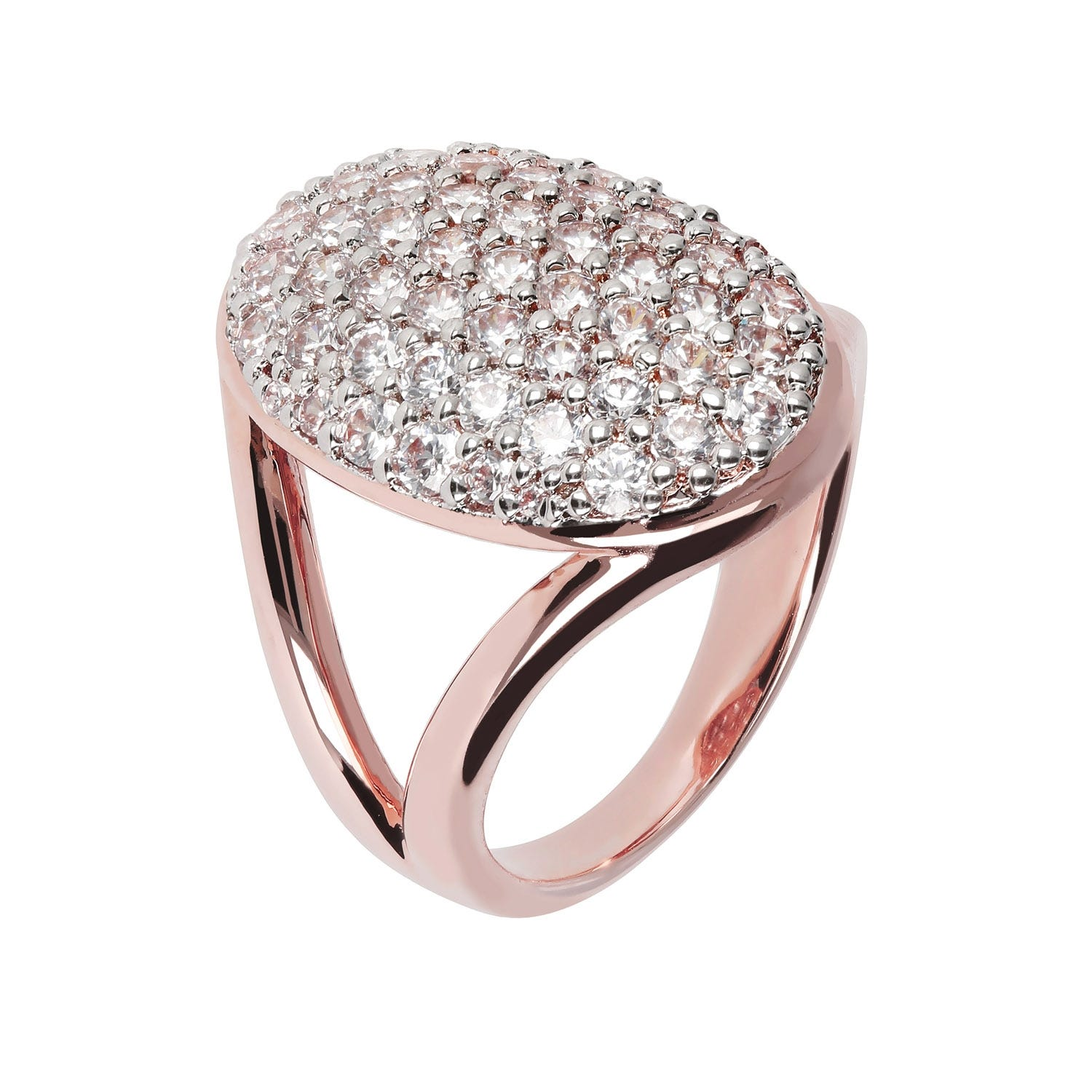 Bronzallure 18ct Rose Gold-Plated Cubic Zirconia Oval Ring