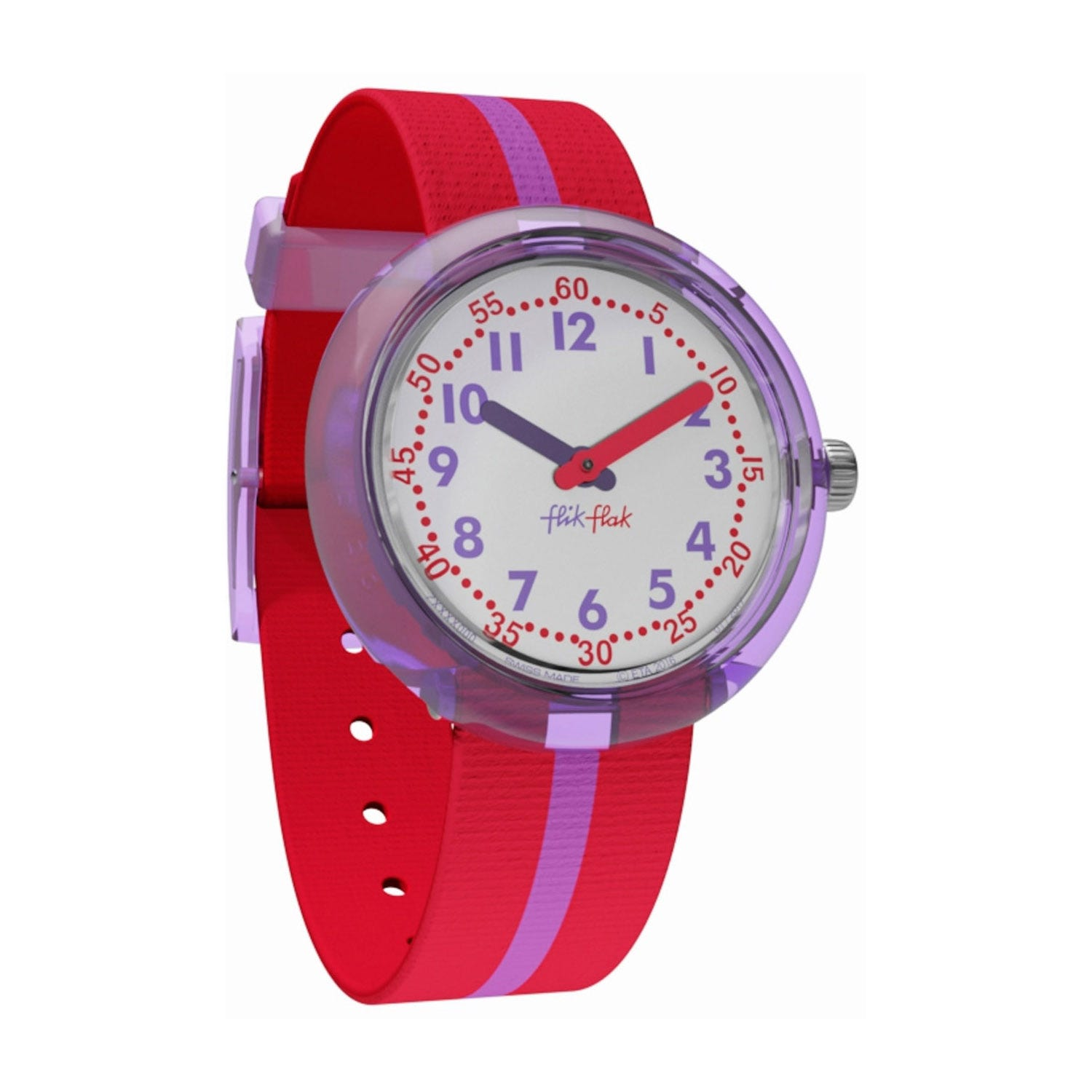 Flik Flak Plastic Case Purple Line Textile Children's Watch