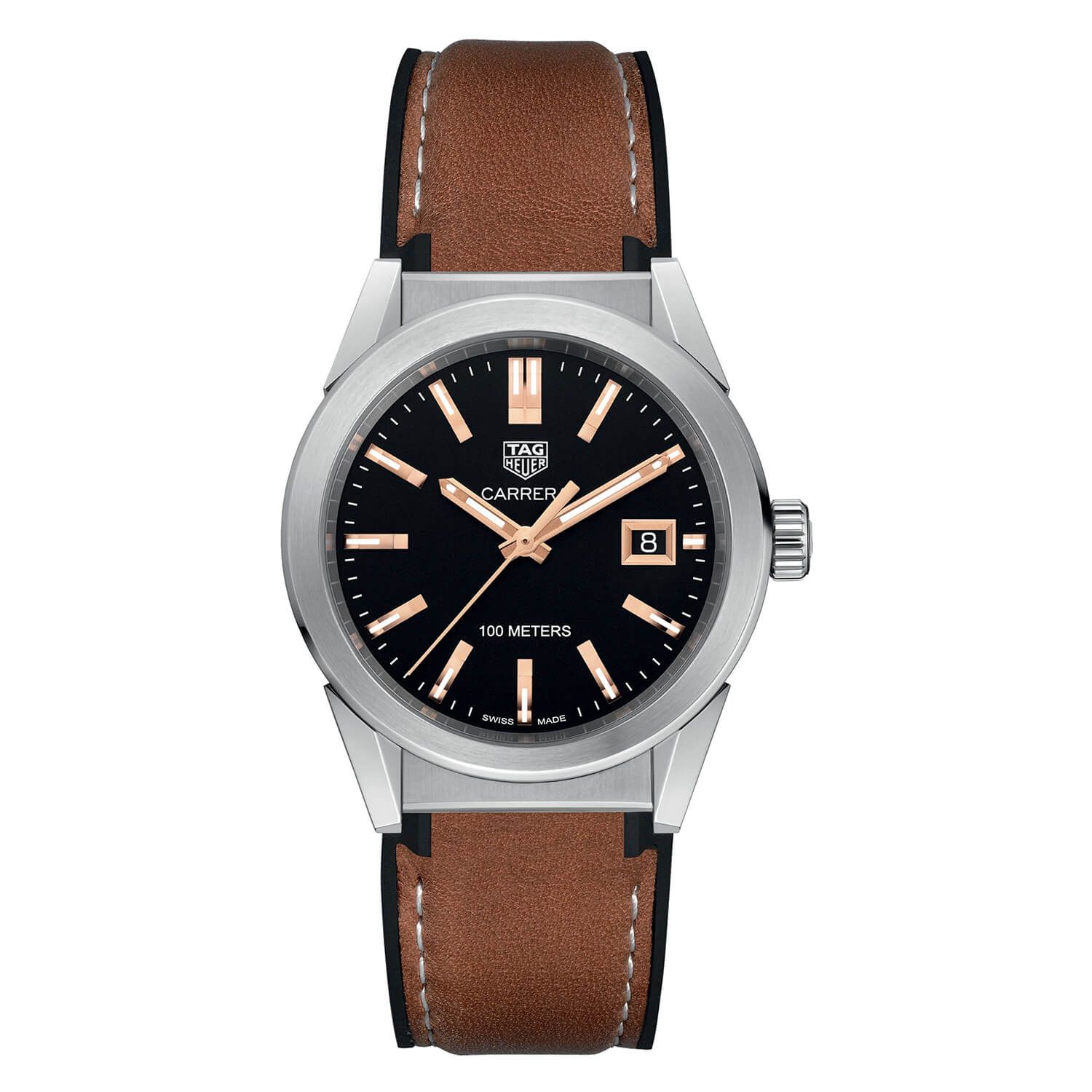 Pre-Owned TAG Heuer Carrera Brown Leather 36mm Ladies' Watch