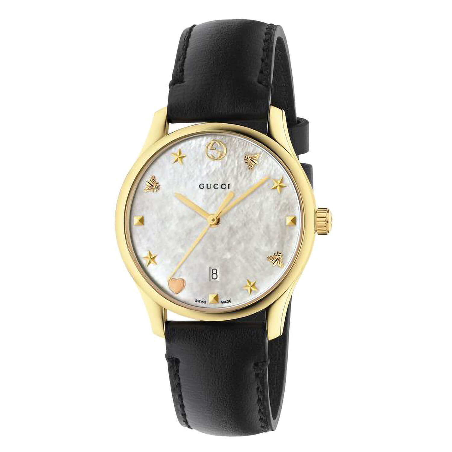 Gucci G-Timeless Pearl Dial Black Calfskin Leather Strap Ladies' Watch