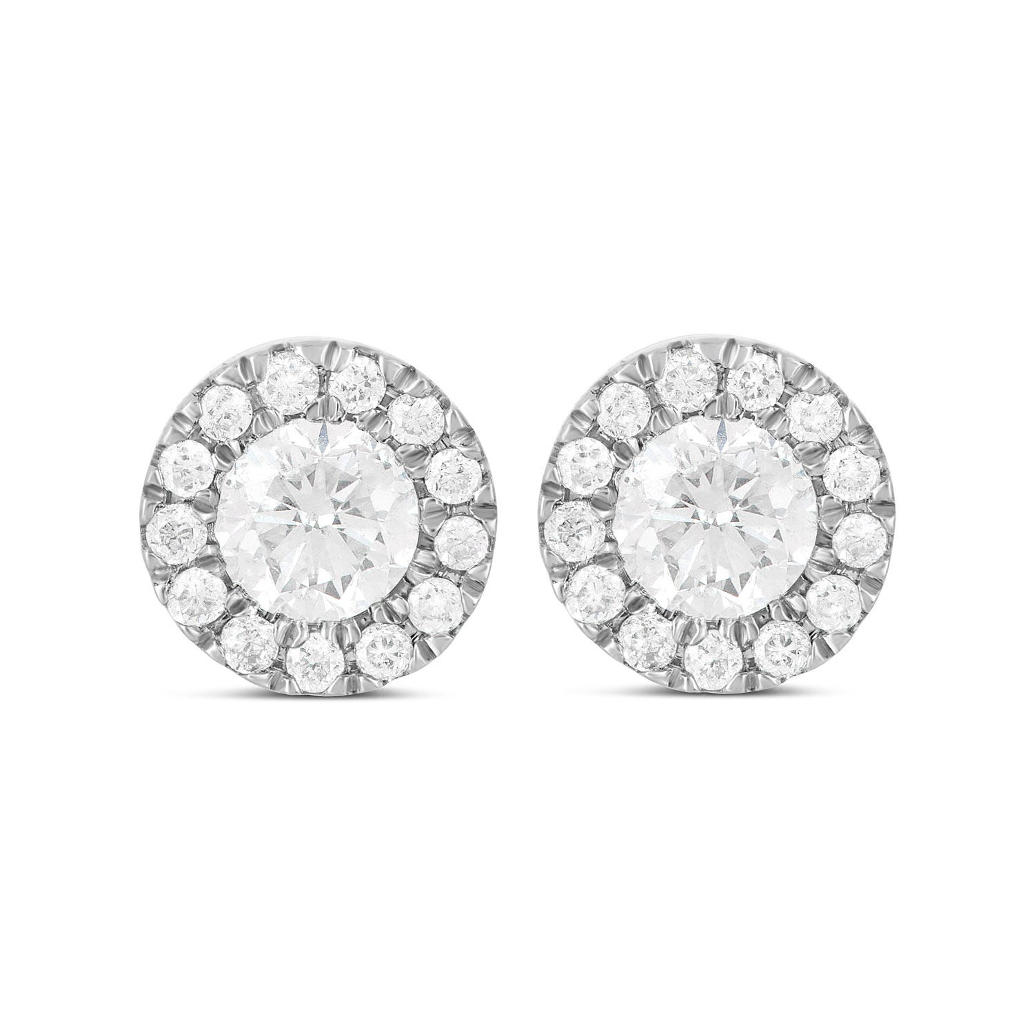9ct White Gold 0.33ct Diamond Halo Stud Earrings