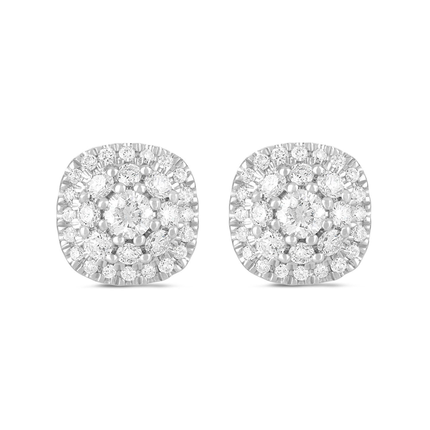 9ct White Gold 0.50ct Diamond Cushion Cluster Stud Earrings