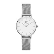 Daniel Wellington Classic Petite Stainless-Steel Mesh Strap White 28mm Dial Watch