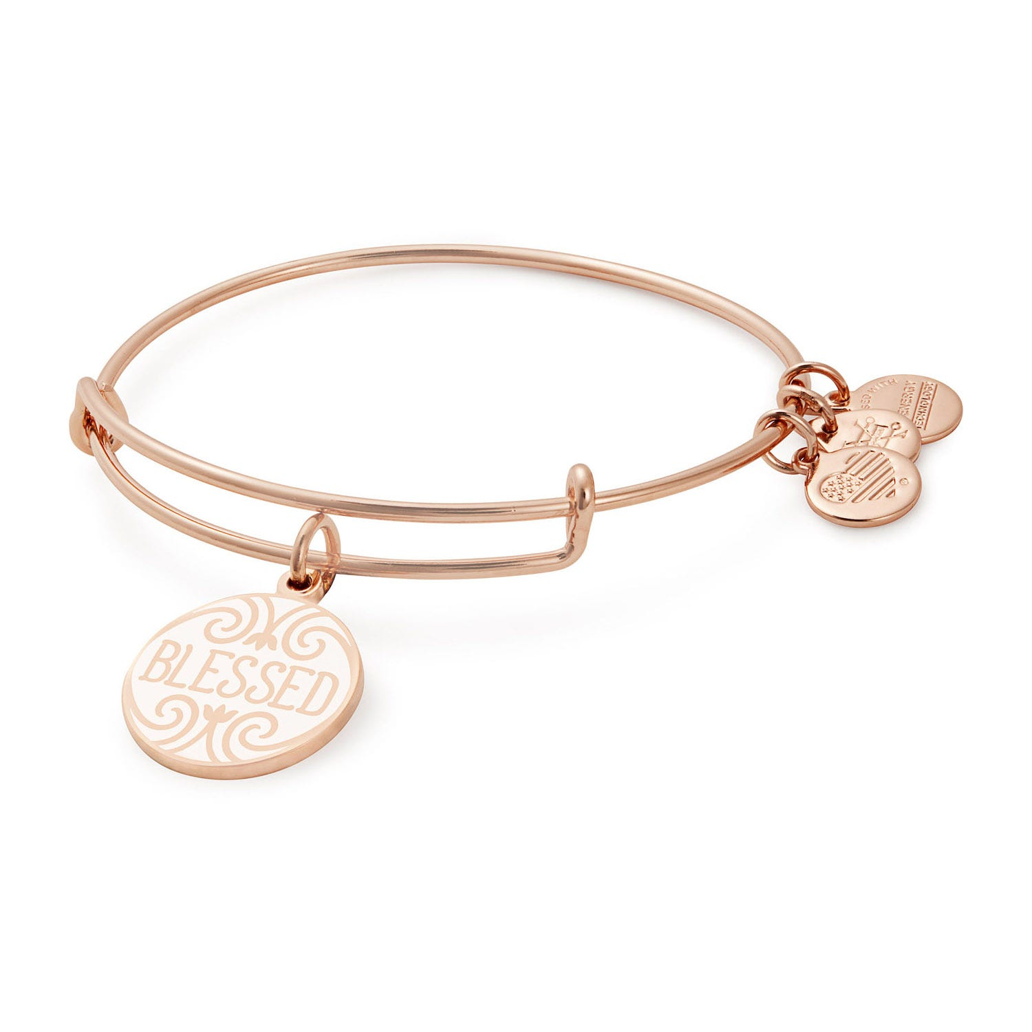 Alex And Ani Words Are Powerful Blessed Rose Gold Charm Bangle