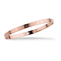 """Mya Bay """"Happiness Is Not A Destination It Is A Way Of Life"""" Rose Gold Bracelet"""