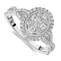 Kathy De Stafford 18ct White Gold '''Ali'' Oval Cluster Halo & Twist Pave Shoulders 0.50ct Ring