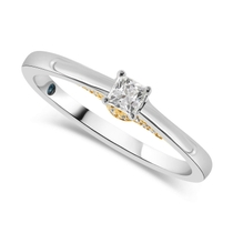 Kathy De Stafford 18ct White Gold ''Clara'' Princess Cut Solitaire & Yellow Gold Diamond Set Bridge 0.26ct Ring
