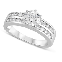 9ct White Gold Cubic Zirconia Solitaire with Double Cubic Zirconia Channel Shoulders Ring
