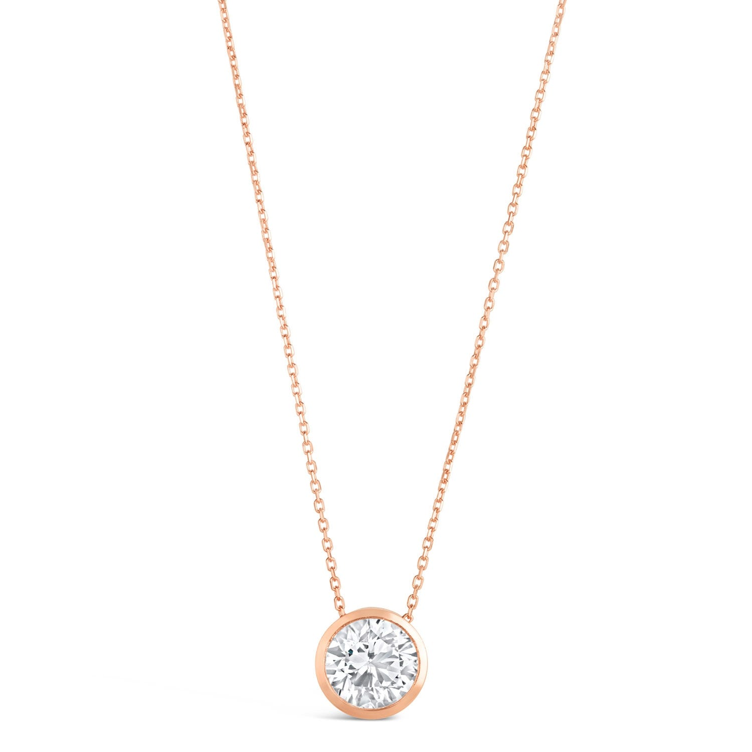 9ct Rose Gold Cubic Zirconia Rubover Pendant