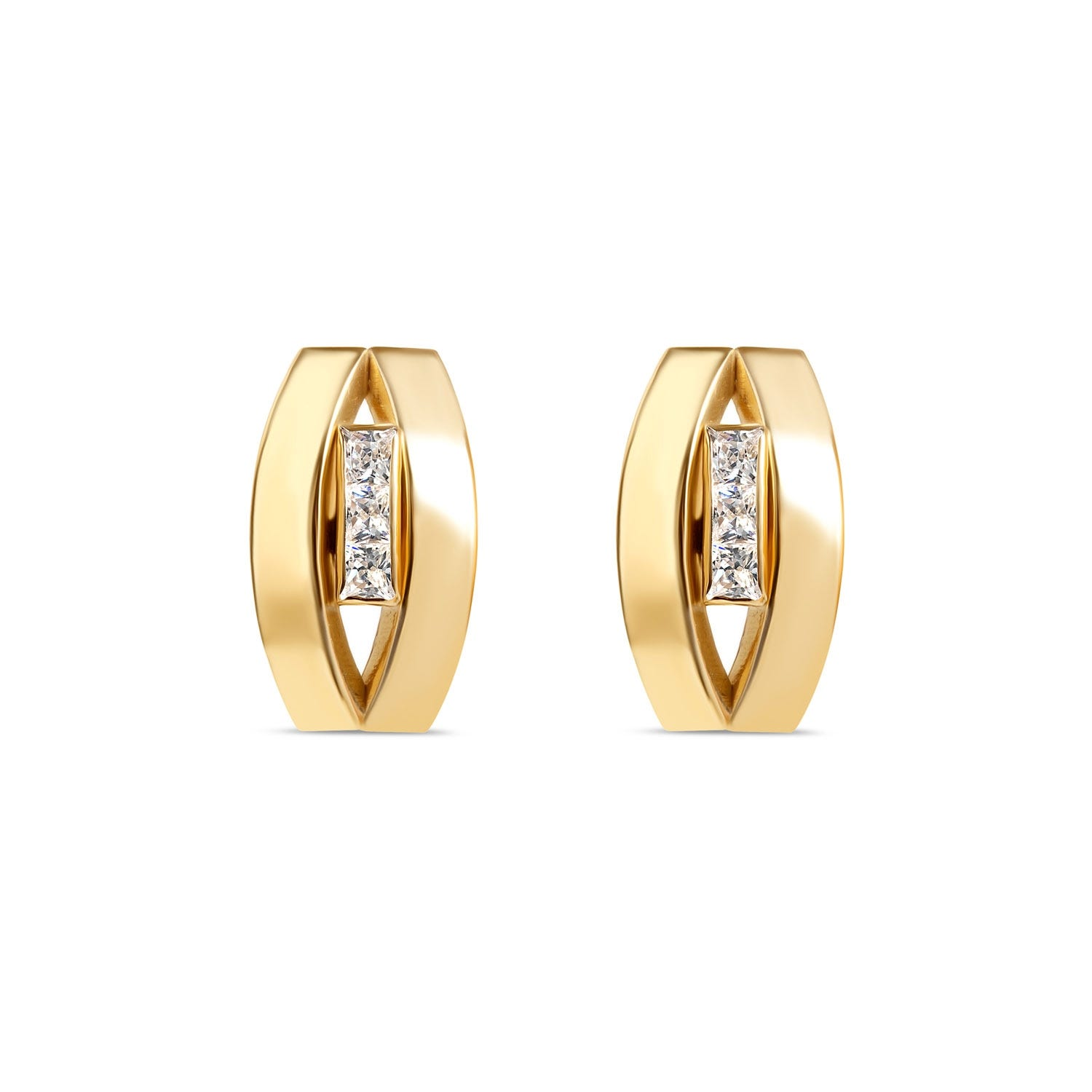 9ct Yellow Gold Three Stone Oval Stud Earrings
