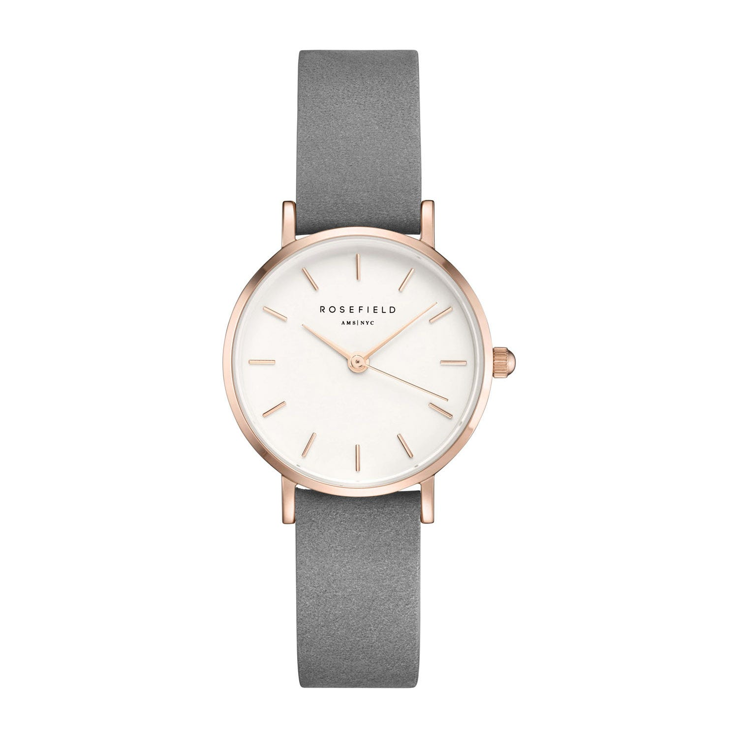 Rosefield The Small Edit White Dial Grey Leather Ladies' Watch