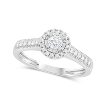 9ct White Gold Illusion Set 0.33ct Diamond Halo and Pave Shoulders Ring