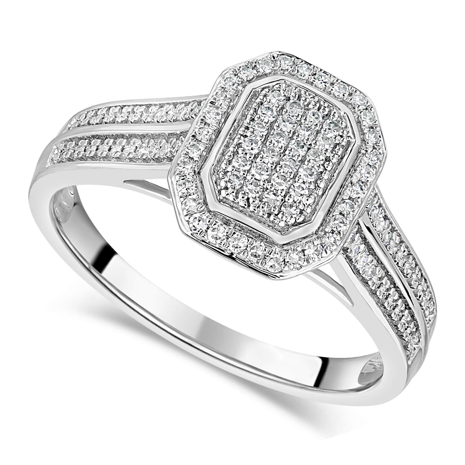 Special Price - 18ct White Gold 0.20ct Diamond Cluster Double Shoulder Ring