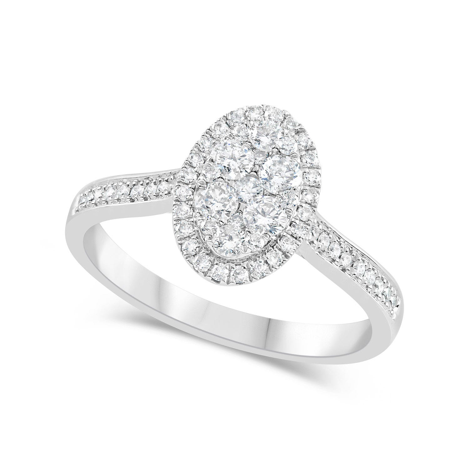 18ct White Gold 0.50ct Diamond Oval & Shoulders Ring