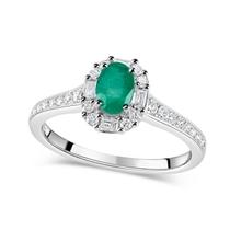 9ct White Gold Oval Emerald & 0.22ct Diamond Ring