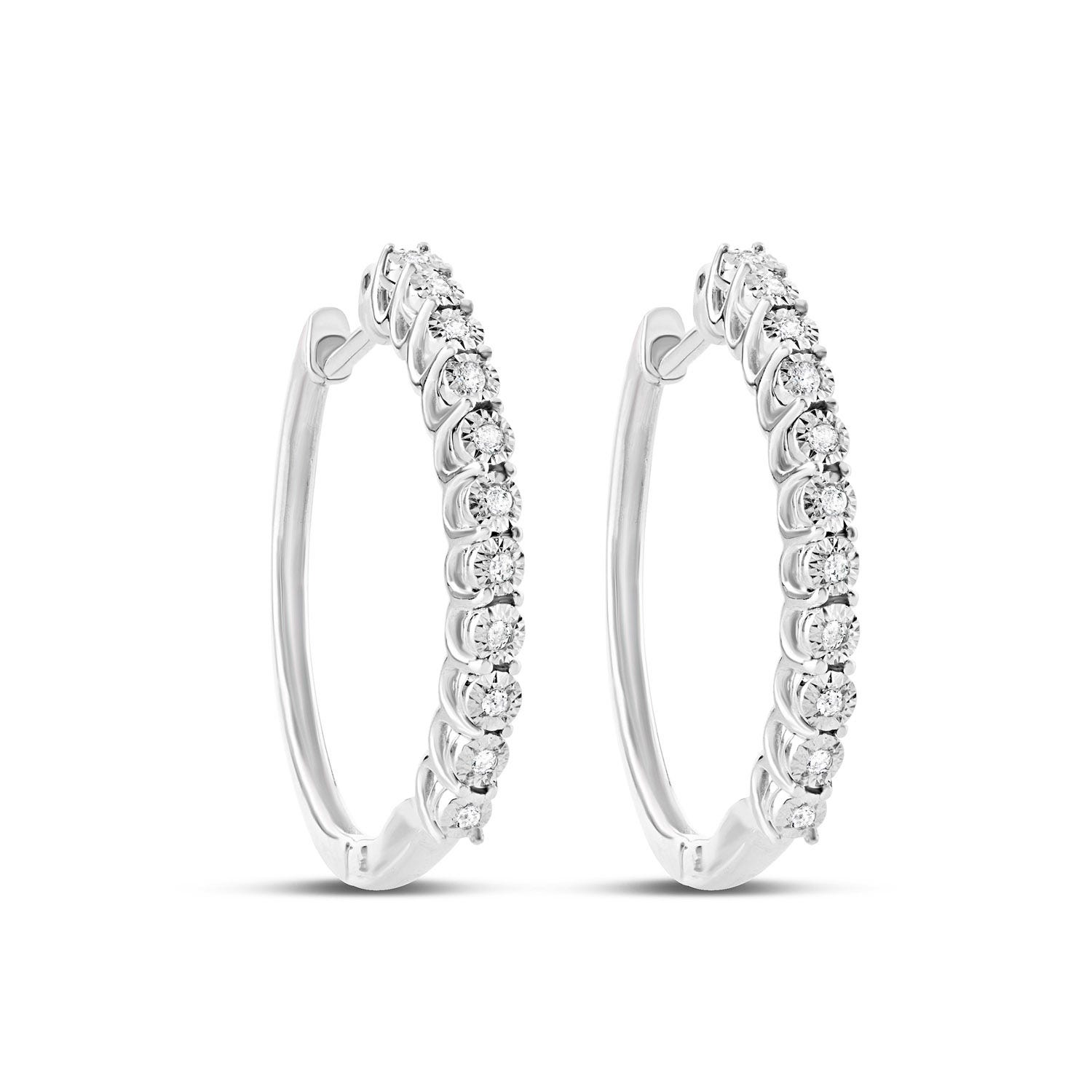 9ct White Gold Illusion Set 0.07ct Diamond Hoop Earrings