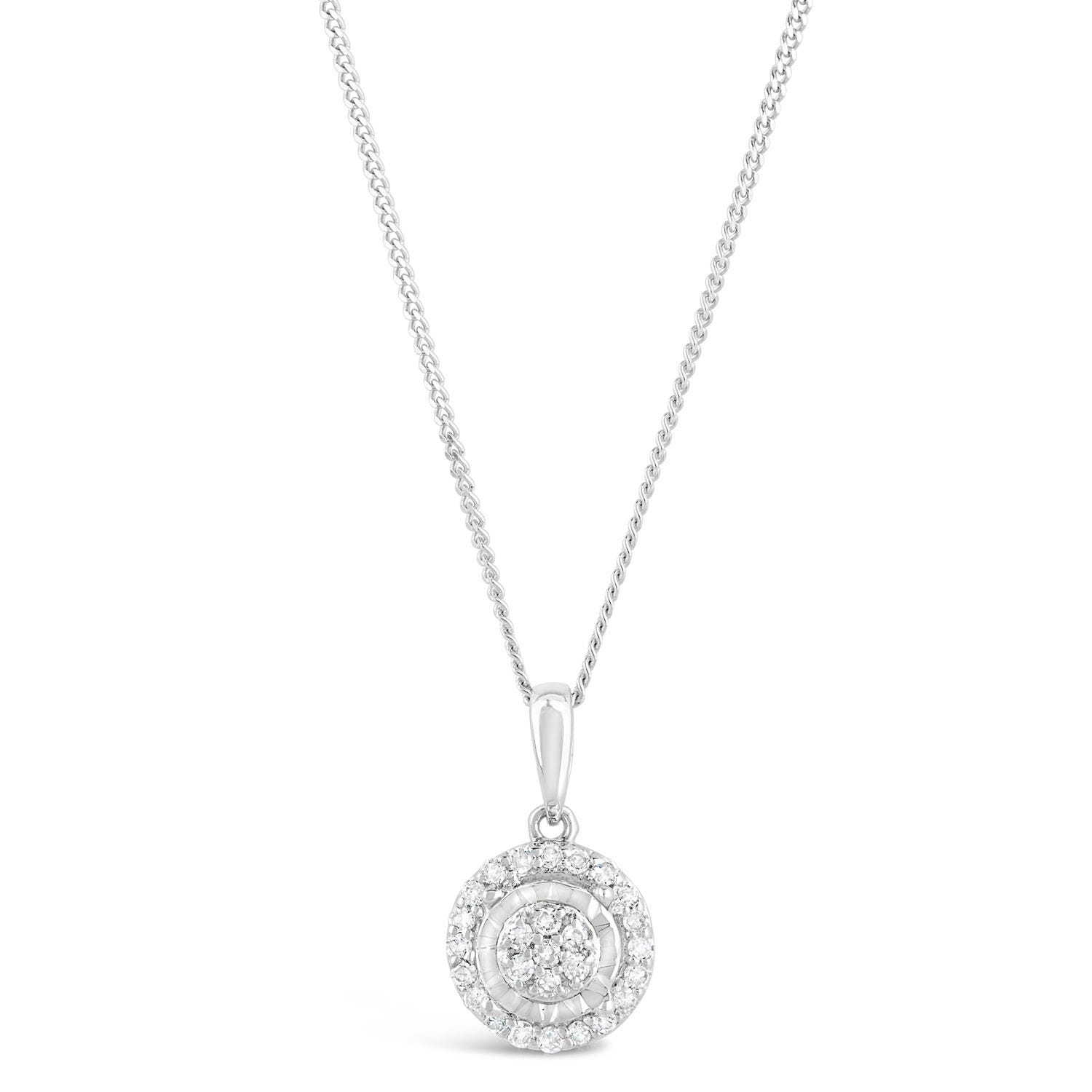 9ct White Gold Diamond Cluster Illusion Halo Pendant