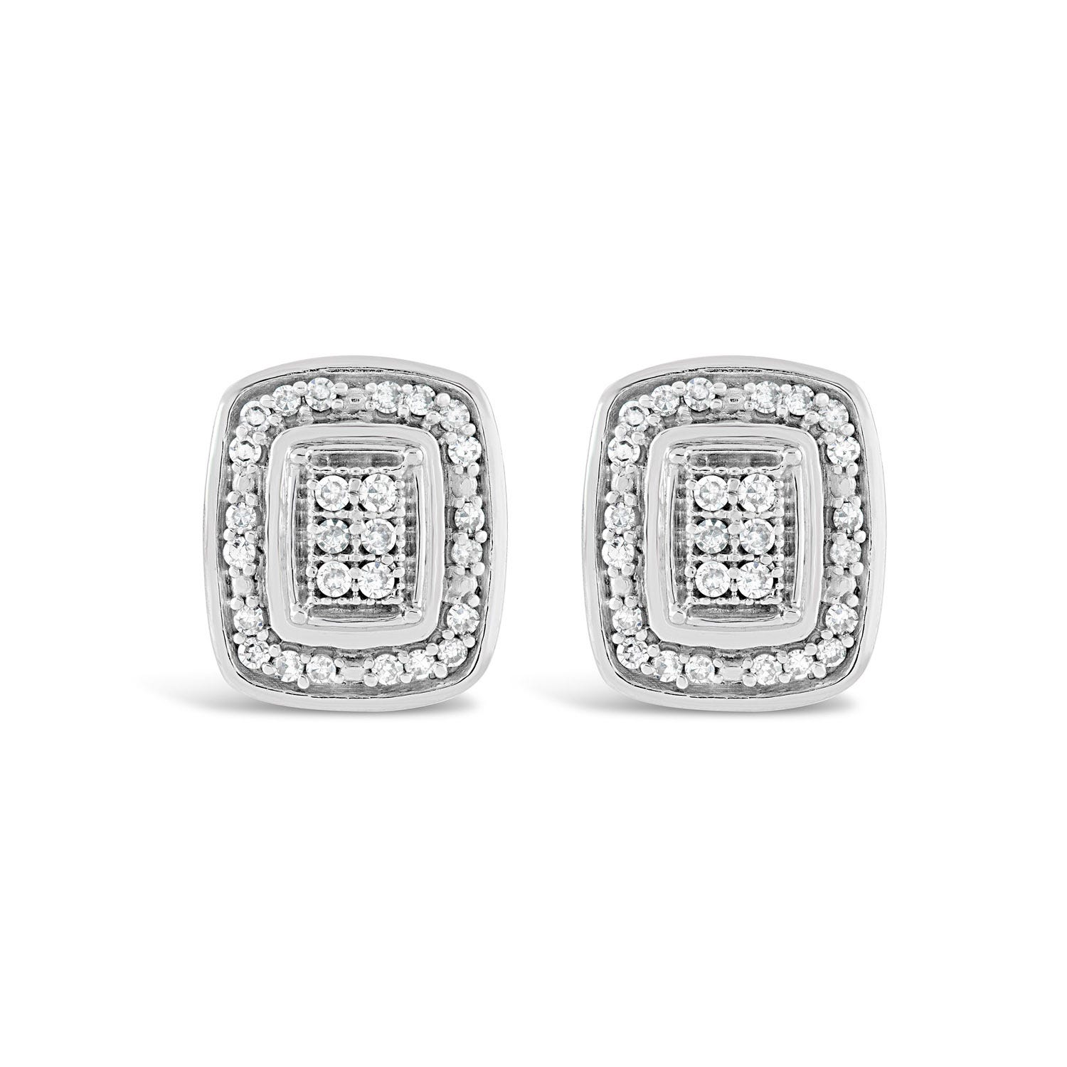 9ct White Gold Rectangular 0.10ct Diamond Set Halo Stud Earrings