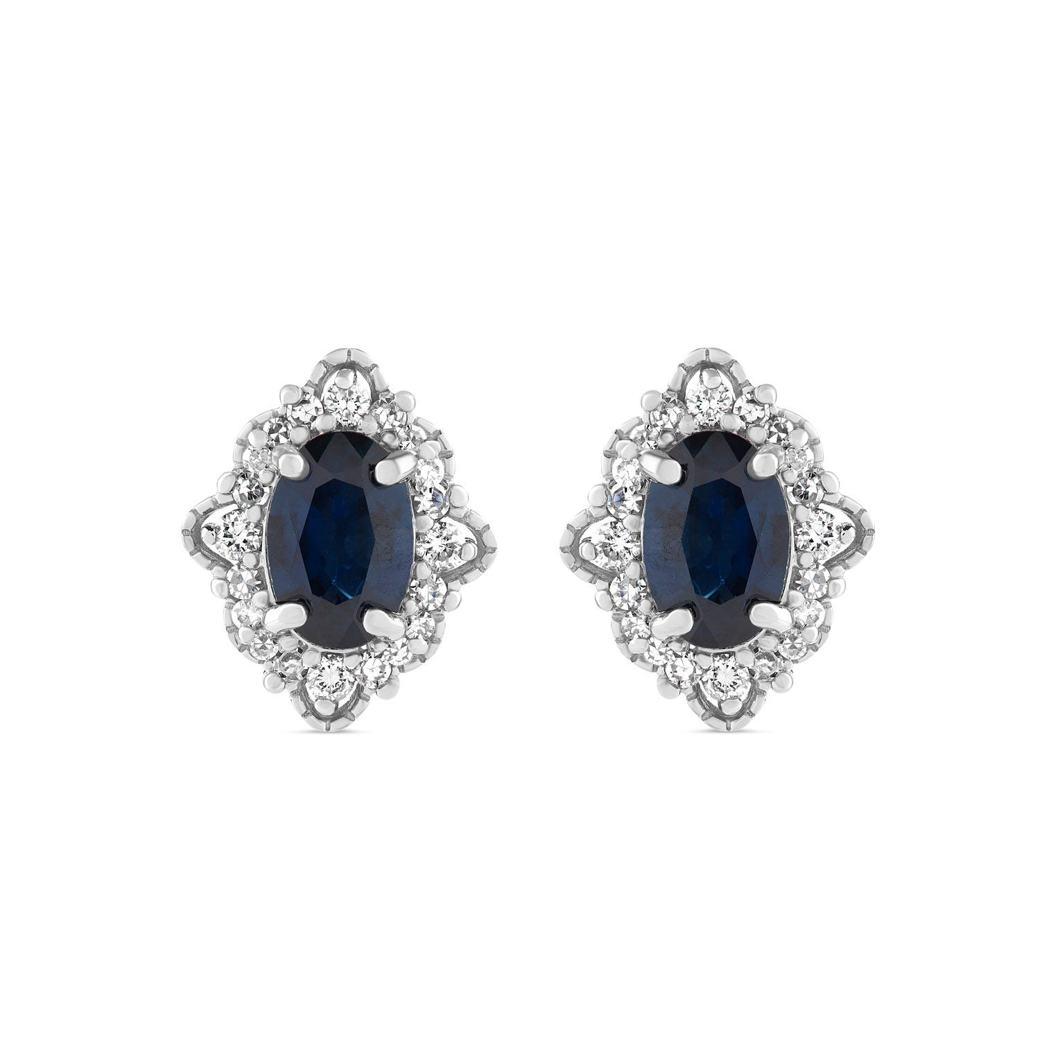 9ct White Gold Oval Sapphire Diamond Surround Antique Stud Earrings