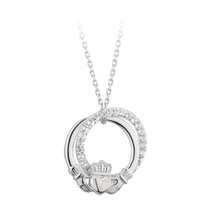 Solvar Sterling Silver & Crystal Claddagh Circle Pendant
