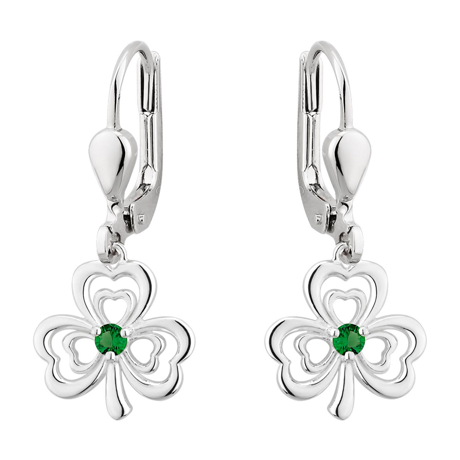 Solvar Sterling Silver Green Crystal Shamrock Earrings