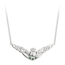 Solvar Sterling Silver Green Crystal Claddagh Necklet