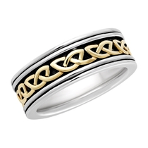 Solvar 9ct Yellow Gold & Sterling Silver Celtic Line Ring