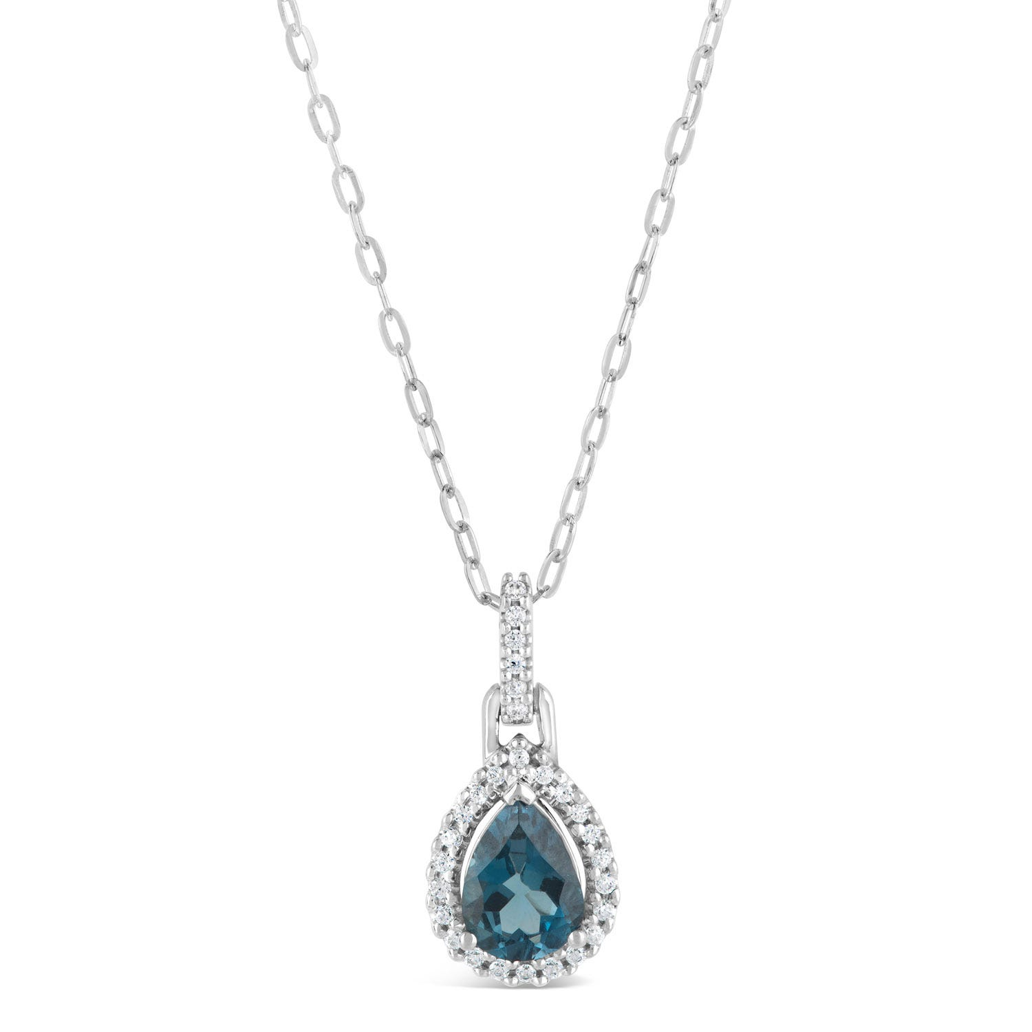 9ct White Gold 0.10ct Diamond and Blue Topaz Pear Pendant