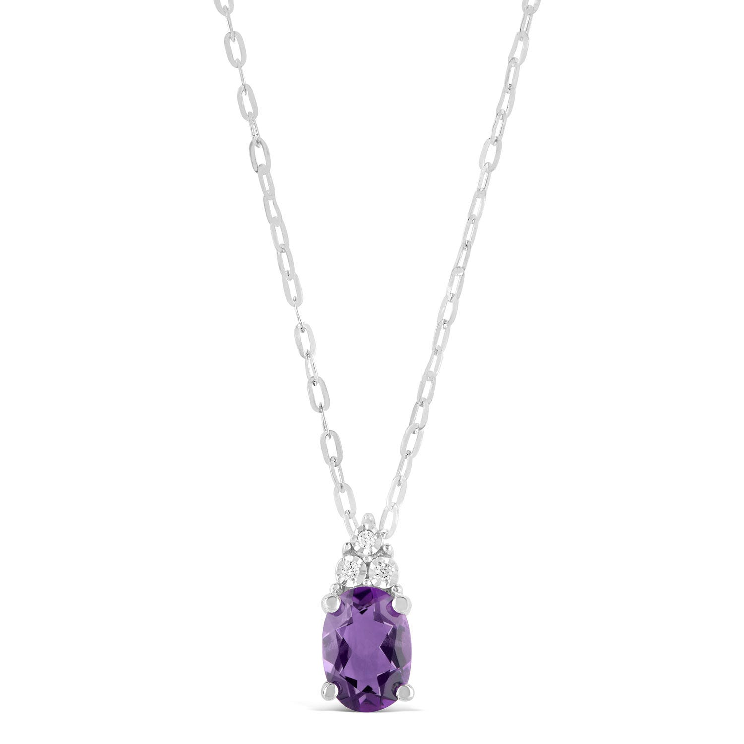 9ct White Gold Amethyst and 0.02ct Diamond Top Pendant
