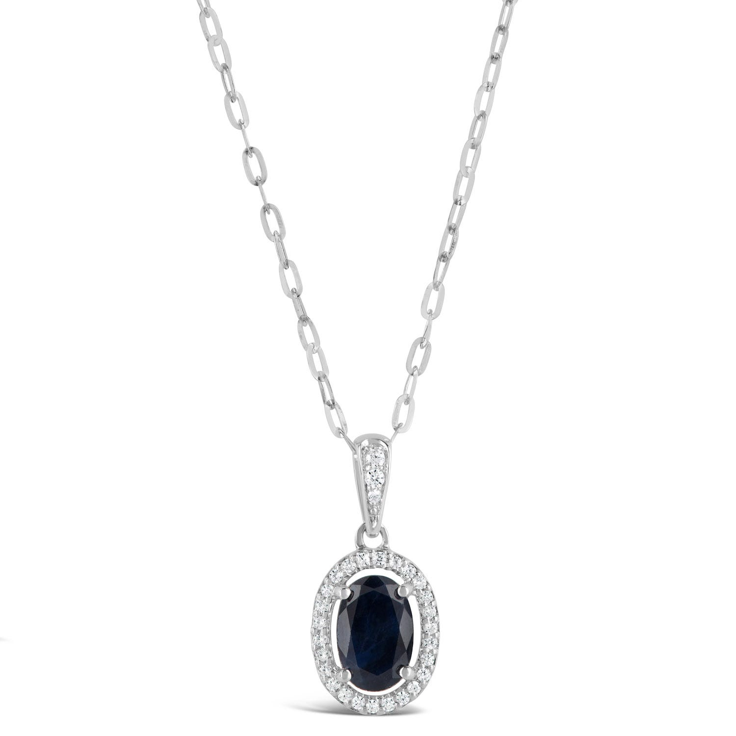 9ct White Gold 0.06ct Diamond Cluster Halo and Sapphire Pendant