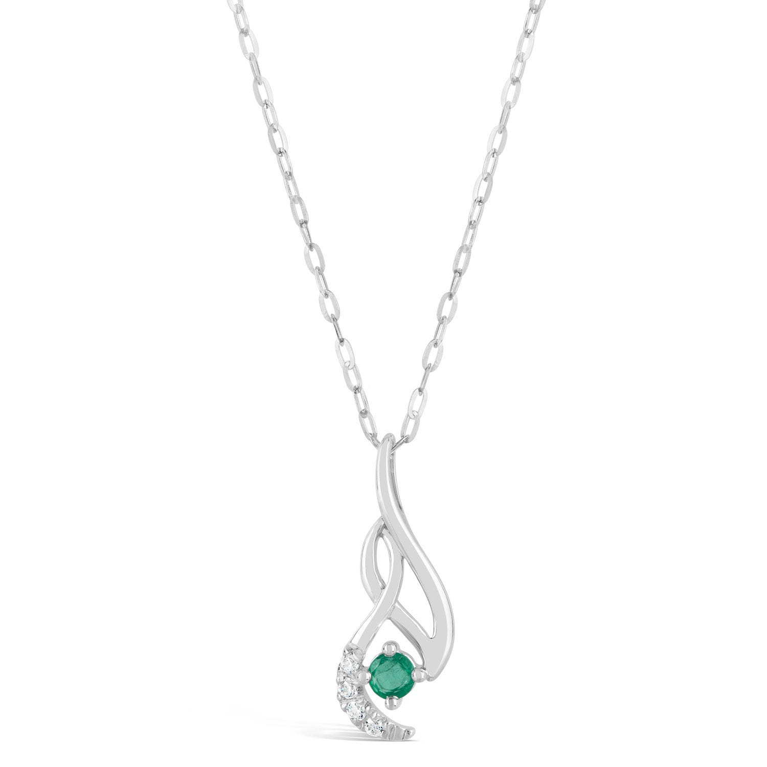9ct White Gold 0.04ct Diamond and Emerald Twist Pendant