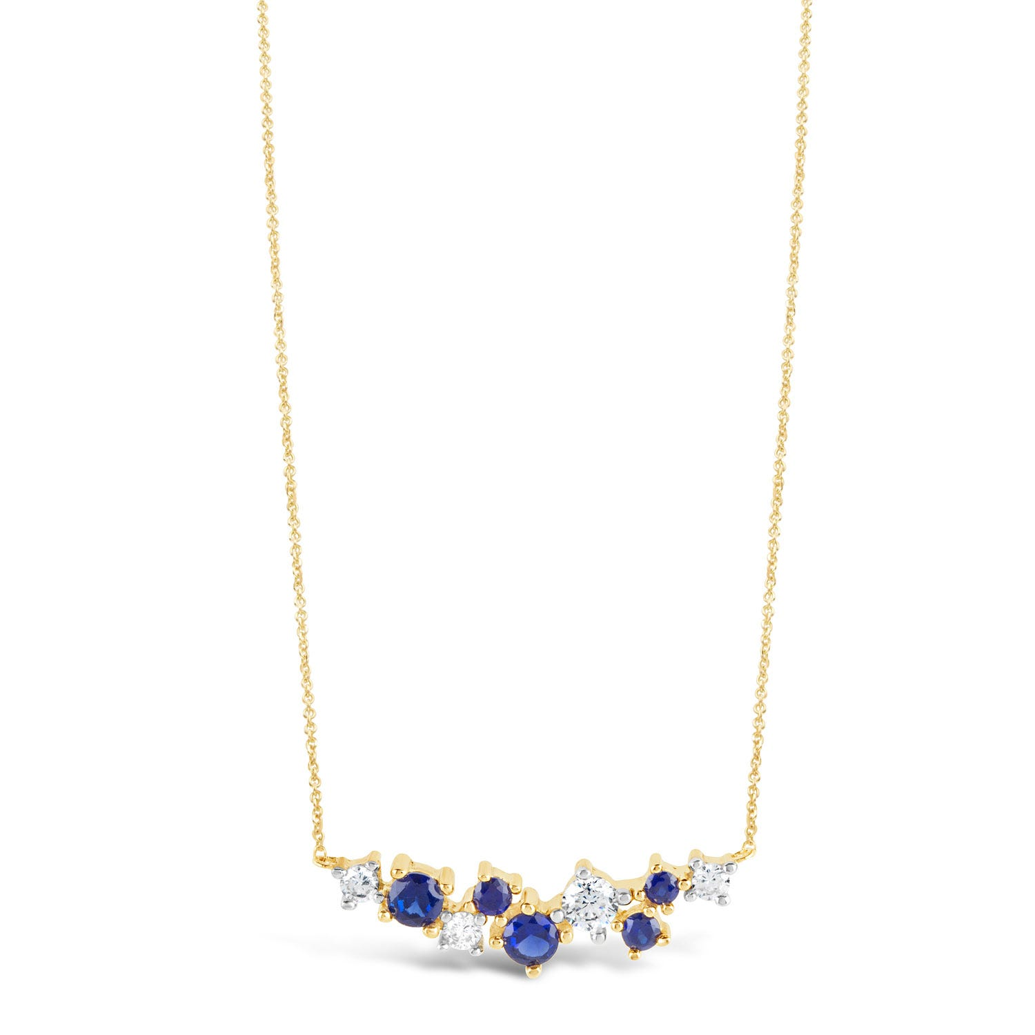 9ct Yellow Gold Sapphire and Cubic Zirconia Spray Necklet