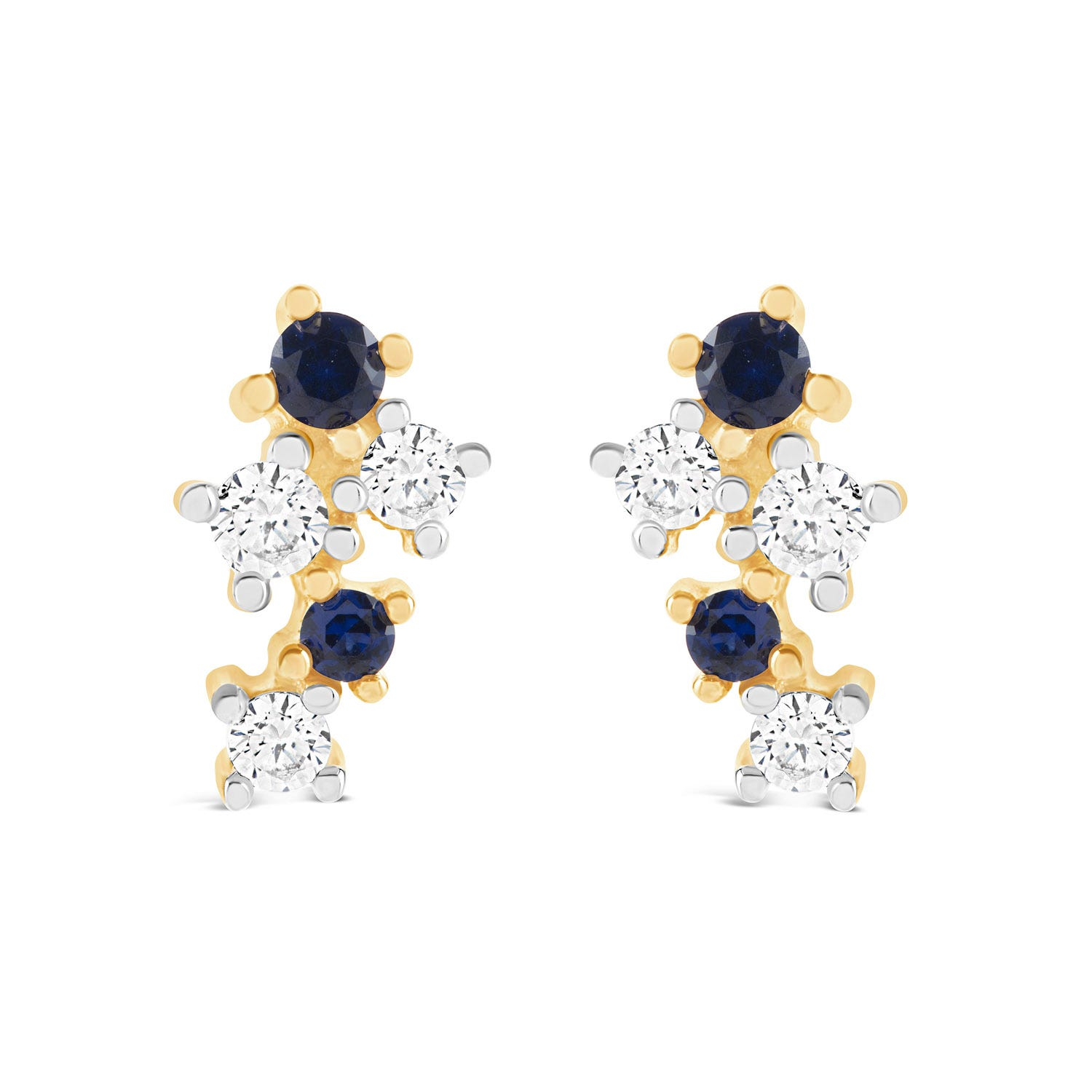 9ct Yellow Gold Sapphire and Cubic Zirconia Spray Stud Earrings