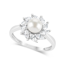 9ct White Gold Cubic Zirconia & Pearl Flower Ring