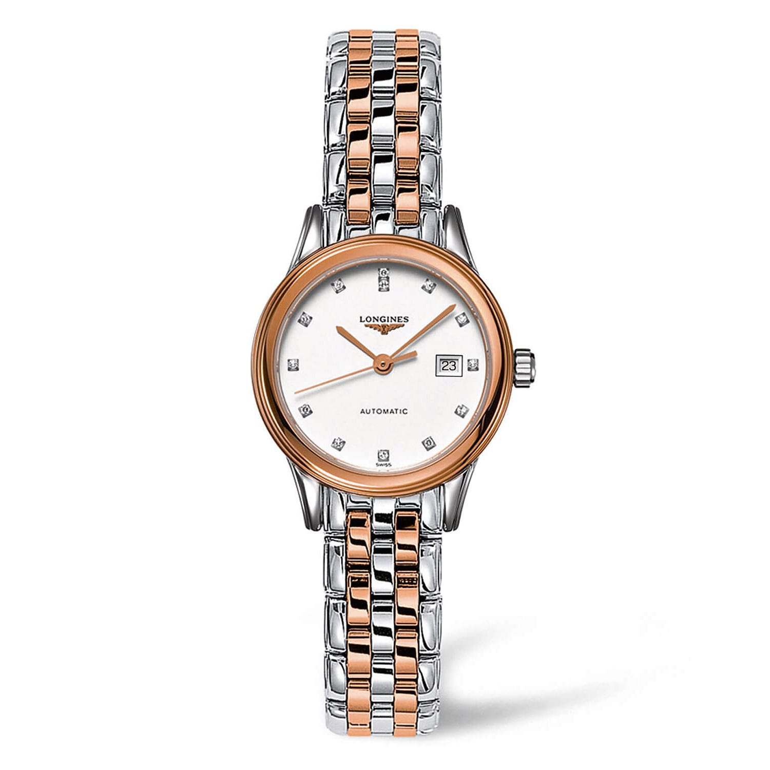 Longines Flagship Automatic White Diamond Dial Two Tone Ladies' Watch