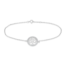 Sterling Silver Cubic Zirconia Tree of Life Chain Bracelet