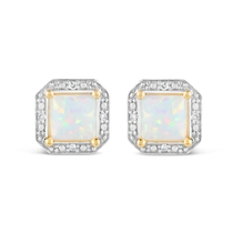 9ct Yellow Gold 0.02ct Diamond Frame Opal Earrings