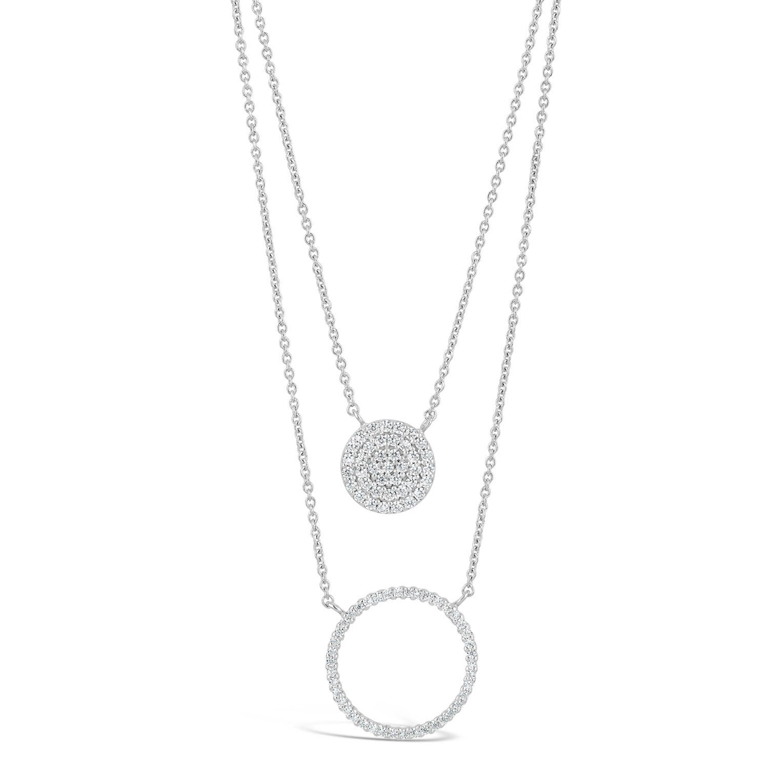 Sterling Silver Cubic Zirconia Circle Disc Double Chain Necklet