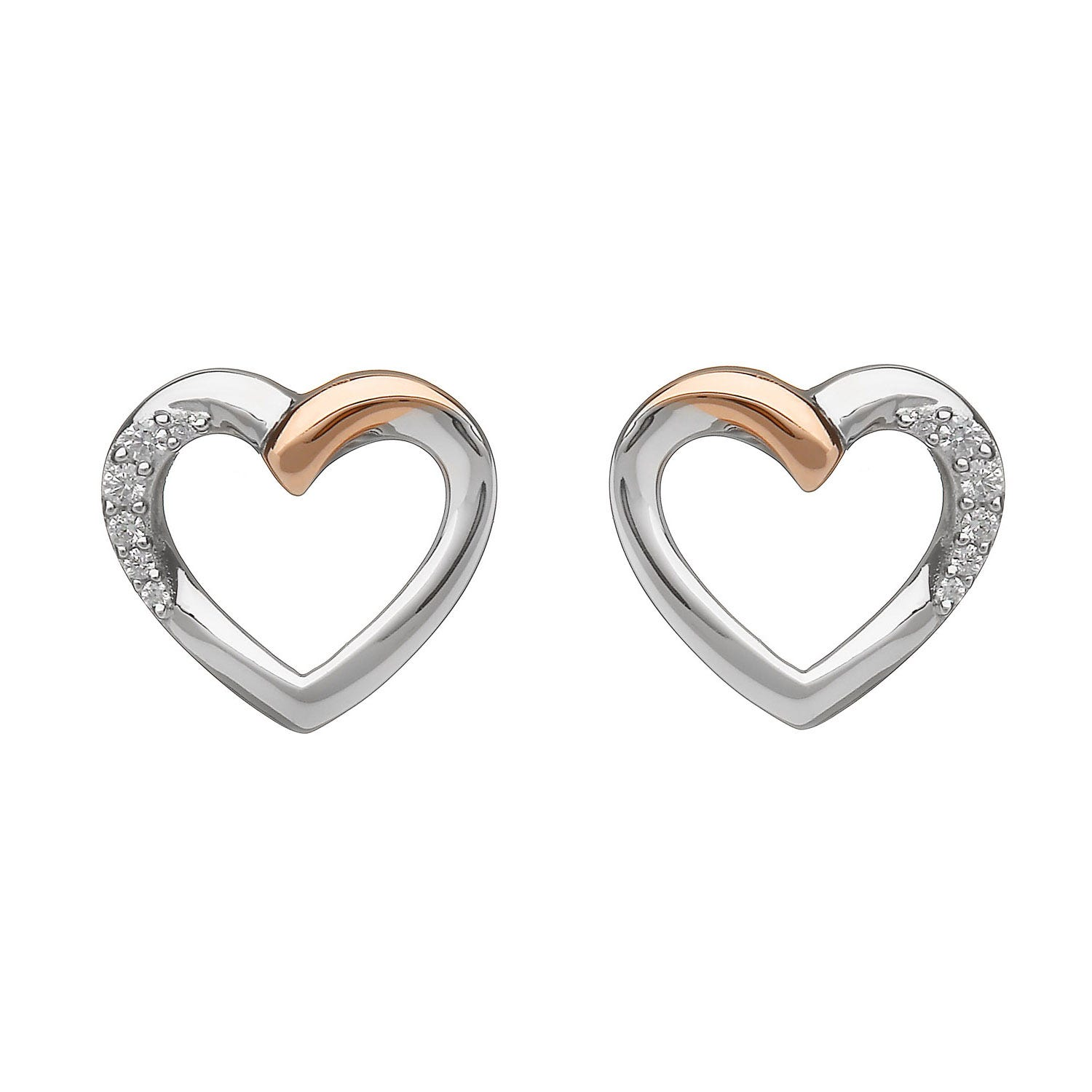 House of Lor Irish Rose Gold Sterling Silver Heart Earrings